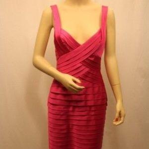 NEW BCBG PLEATED STRETCH SATIN SHEATH DRESS SIZE 0